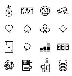 thin line icons - casino vector image