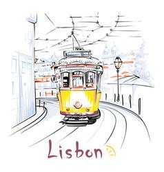 yellow 28 tram in alfama lisbon portugal vector image vector image