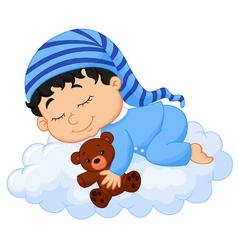 Baby sleeping cloud vector image
