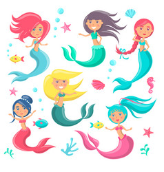beautiful mermaids icon vector image