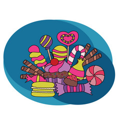 candy and sweets design set vector image