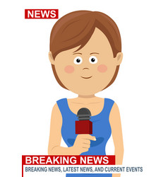 female news reporter - woman journalist vector image