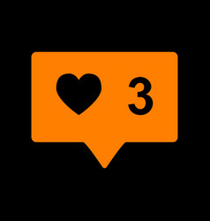 like and comment sign orange icon on black vector image