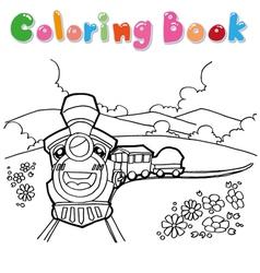 train cartoon coloring vector image