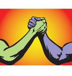 arm wrestling two color vector image vector image