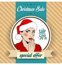 Christmas sale design with sexy Santa girl vector image vector image