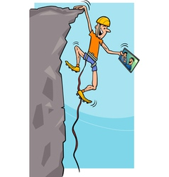 climber with tablet cartoon vector image vector image