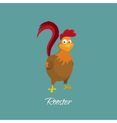Drawing of cock in cartoon style Rooster vector image vector image