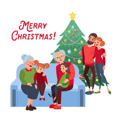 family christmas grandparents with grandchildren vector image