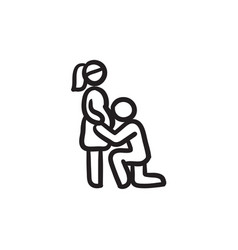 Man with pregnant wife sketch icon vector