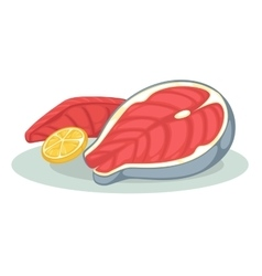 Piece or slice red fish Raw salmon steak - fresh vector image