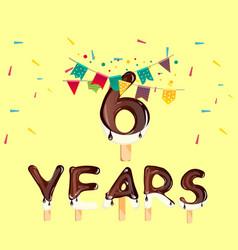 the sixth birthday greeting card vector image