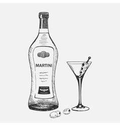 Hand drawn martini composition vector image vector image