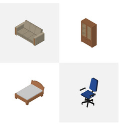Isometric furniture set of couch bedstead office vector