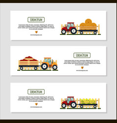 set of horizontal banners for farm desing with vector image vector image