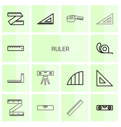 14 ruler icons vector