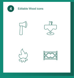 4 wood icons vector image