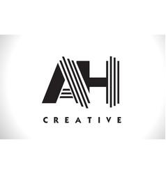 ah logo letter with black lines design line letter vector image