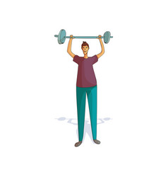 athlete holding barbell above his head young guy vector image