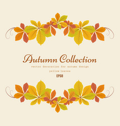 Autumn background with chestnut leaves vignette vector