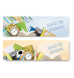 back to school banners with supplies tool layered vector image