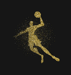 Basketball player silhouette gold glitter poster vector