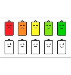 Battery indicator smiley icons vector image