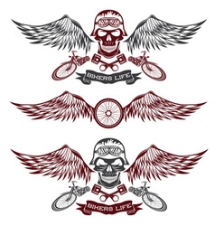 biker theme labels with wheelbike and skulls with vector image