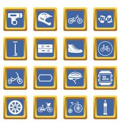 Biking icons set blue vector