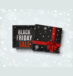 Black friday sale design opened black gift box vector
