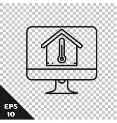 black line computer monitor with house temperature vector image