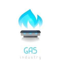 Blue gas flame on stove Industrial vector image