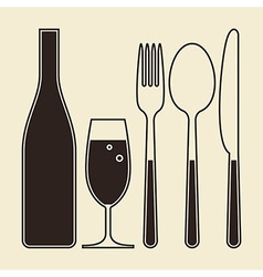 bottle glass champagne fork knife and spoon vector image