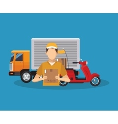 Box truck and man of delivery concept design vector image