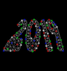 bright mesh wire frame 2019 perspective text with vector image