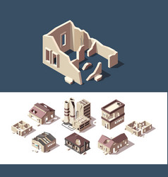 Broken houses isometric set abandoned vector