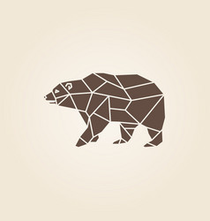 Brown bear abstract geometric polygon vector