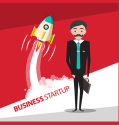 business startup design with rocket launch and vector image
