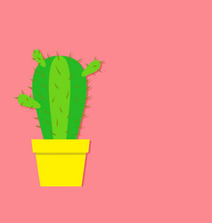 cactus icon in flower pot desert prikly thorny vector image