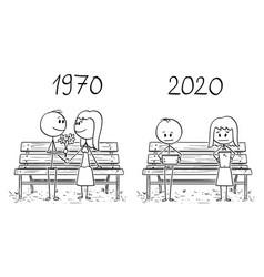 Cartoon comparison loving couple sitting on vector