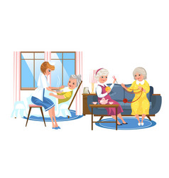 cartoon image of nice old people resting in rooms vector image