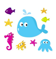 cartoon sea animals fishes vector image