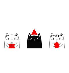 cat set holding merry christmas ball gift box vector image