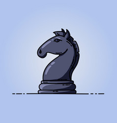chess black knight flat icon vector image