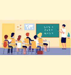 Children in classroom school teacher boy girl vector