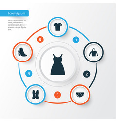 clothes icons set collection of casual dress vector image