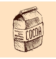 Cocoa bag hand drawn sketch vector