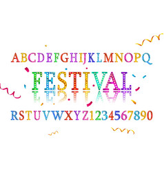 colorful vibrant fun festive party alphabet vector image