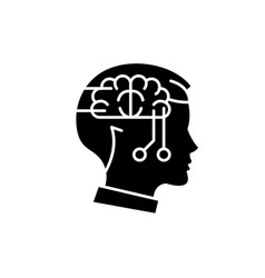 computer thinking black icon sign on vector image