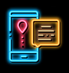 Courier delivery mobile application neon glow icon vector